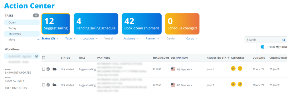 Dockflow's platform - The Action Center allows users to quickly align on shipments.